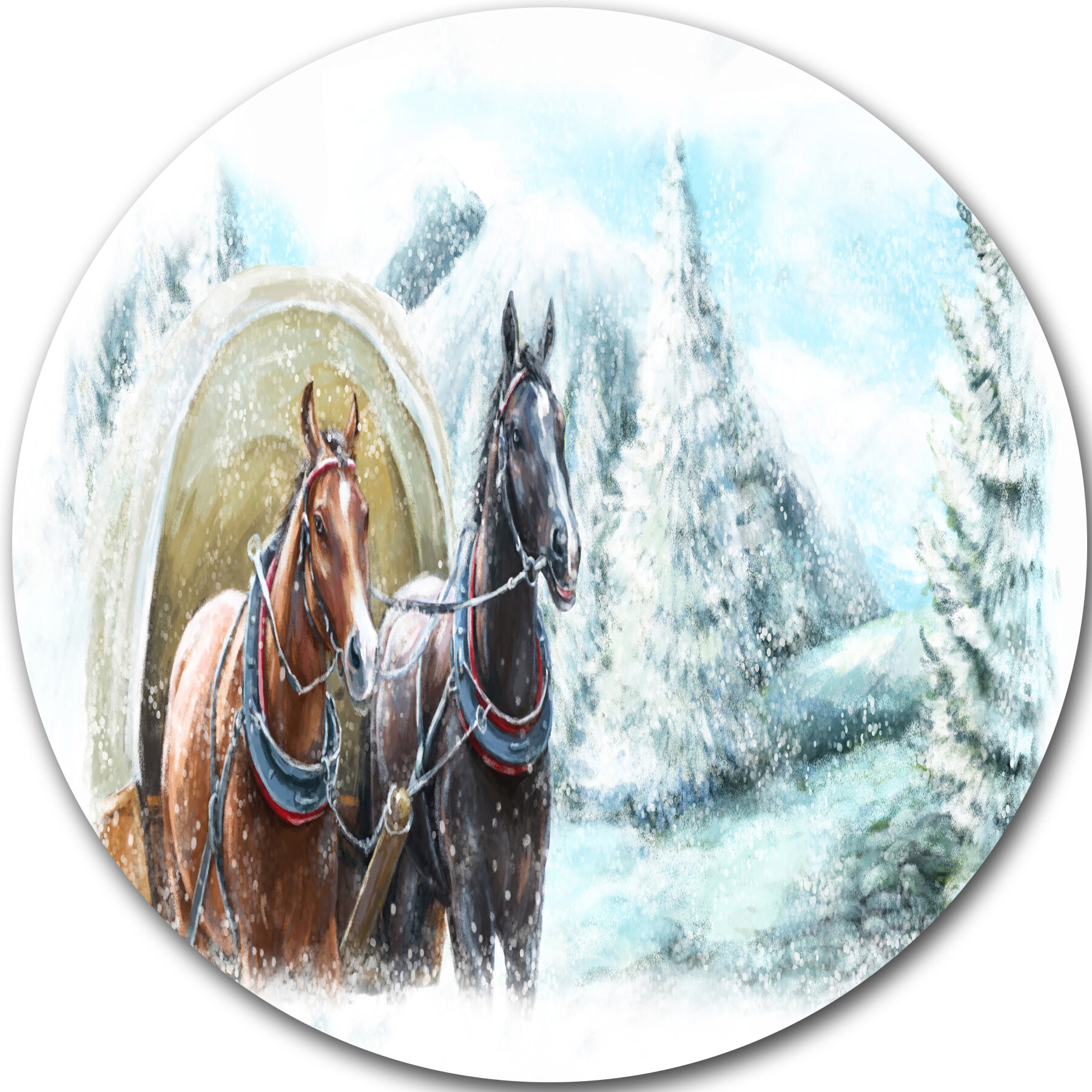 Designart Painted Scene With Horses In Winter Photographic Print On Metal Wayfair