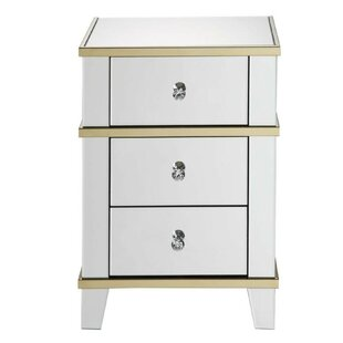 Grayone Wood and Mirror 3 Drawer Nightstand