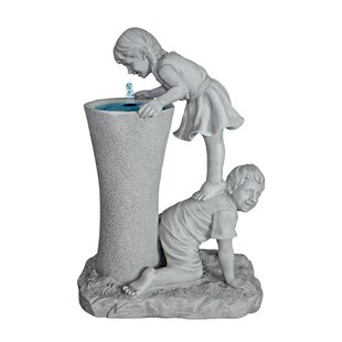 Get A Leg Up Girl And Boy Resin Sculptural Fountain By Happy Larry