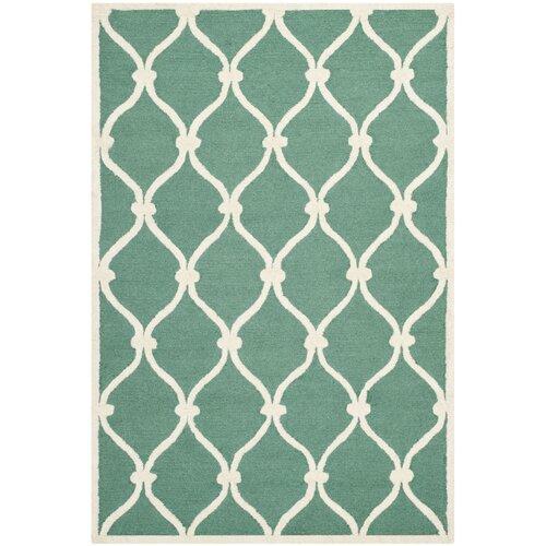 Handgefertigter Teppich Neva aus Wolle in Blaugrün/Elfenbein Canora Grey Teppichgröße: 200 x 300 cm | Heimtextilien > Teppiche > Sonstige-Teppiche | Canora Grey