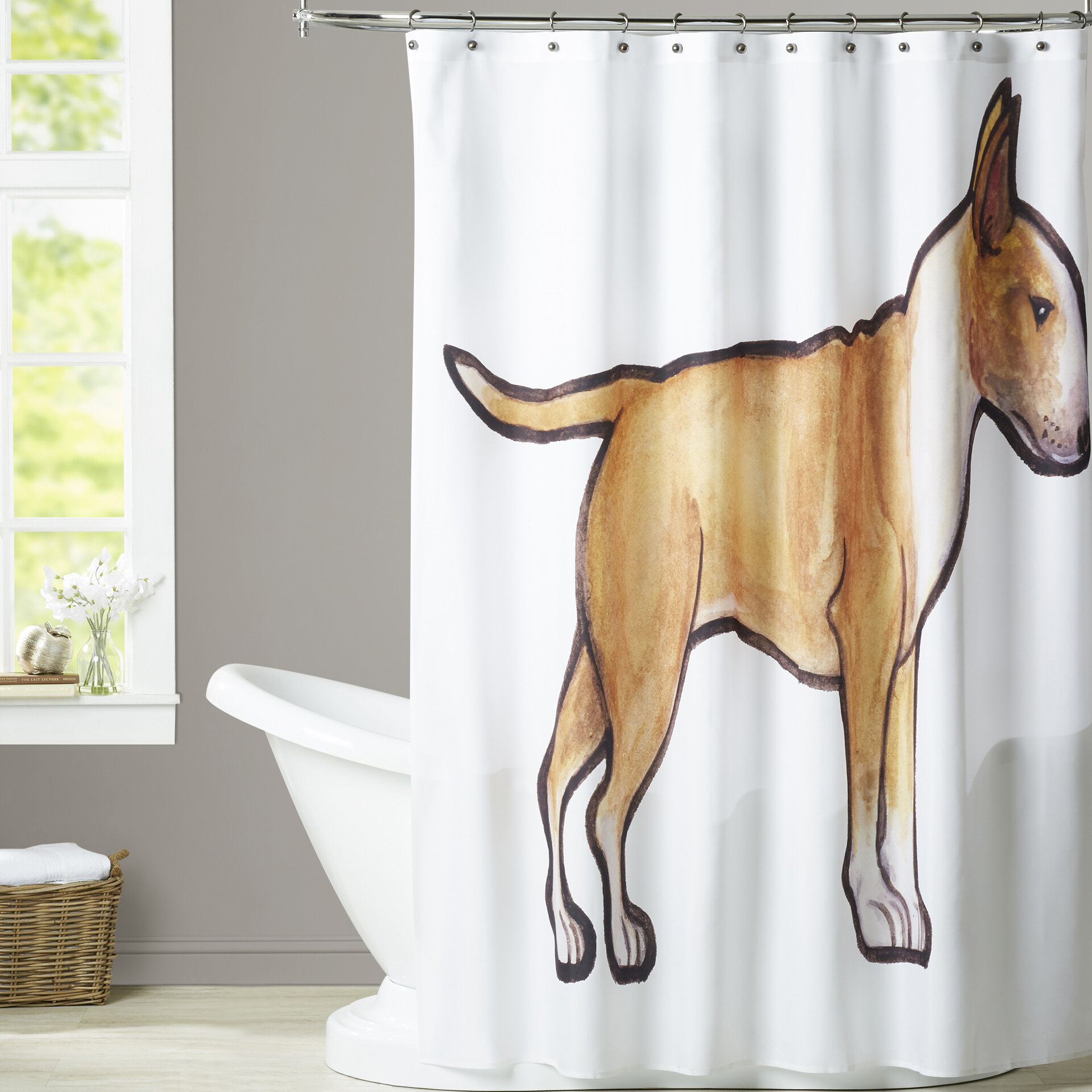 Rosen English Bulldog 2 Single Shower Curtain