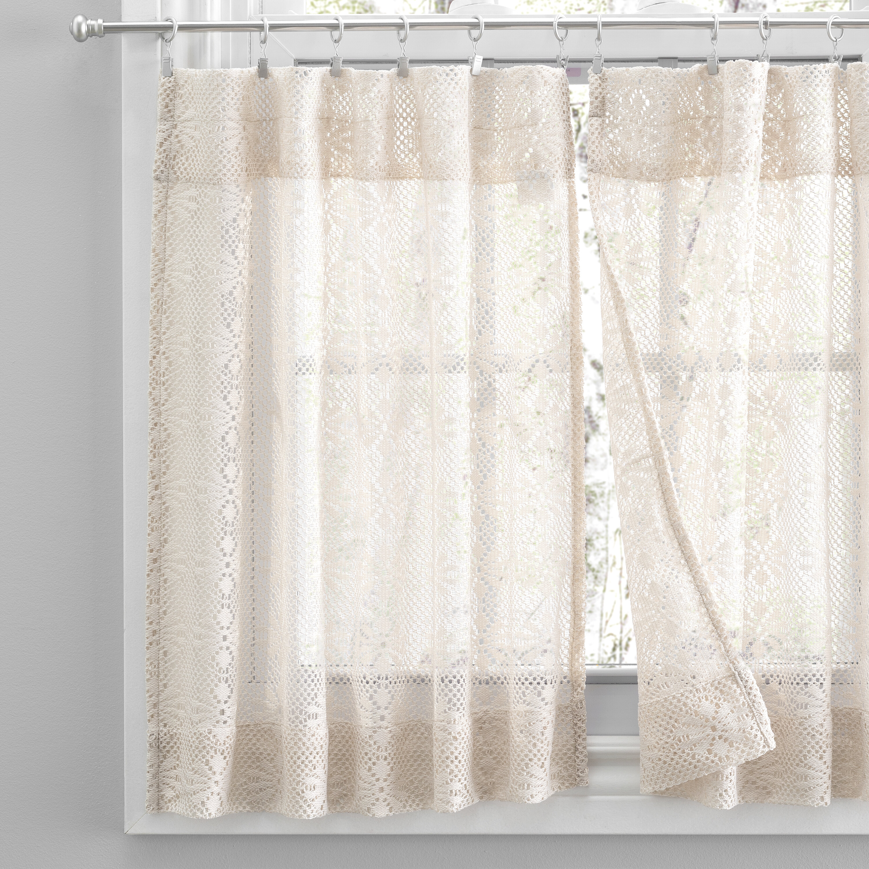 Hopewell Heavy White Lace Kitchen Curtain Home Room Decor 24 Cafe Tier Curtains Home Kitchen Home Decor