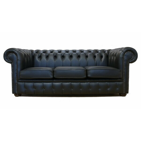 Williston Forge Lansdale Genuine Leather 3 Seater Chesterfield Sofa Bed & Reviews | Wayfair.co.uk