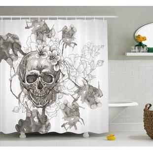 Doreen Day Of The Dead Painting Skull Flowers Dia De Los Muertos Festive Decor Print Shower Curtain
