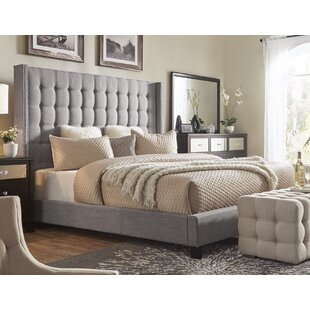 Luxullian Button Tufted Upholstered Wingback Headboard by Rosdorf Park