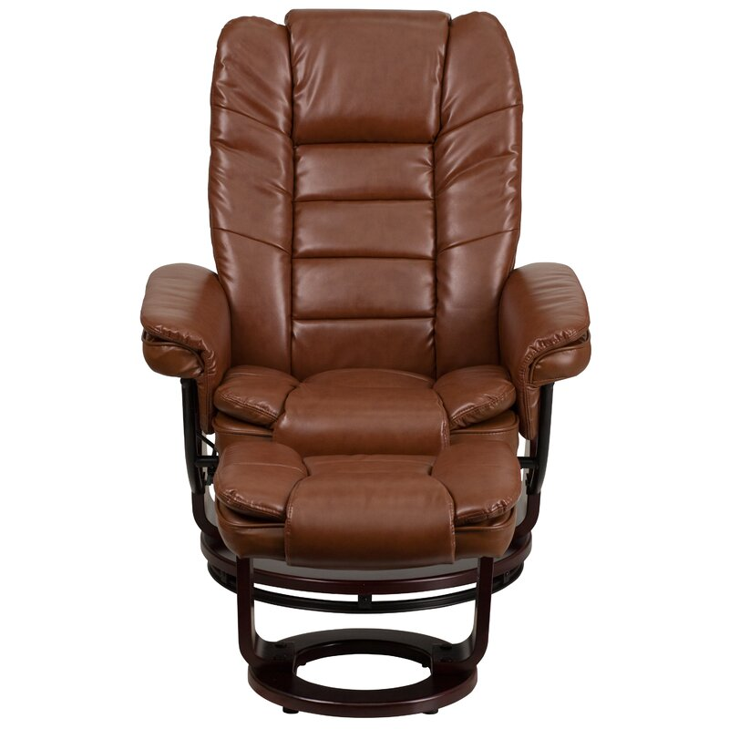 Charlton Home Faux Leather Manual Swivel Recliner With Ottoman Reviews Wayfair Ca