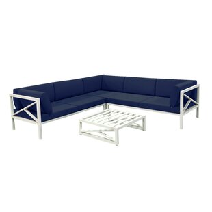 Denise 4 Piece Sectional Seating Group by Longshore Tides