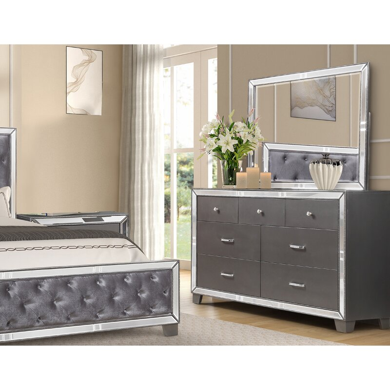 Bestmasterfurniture 7 Drawer Double Dresser With Mirror Wayfair
