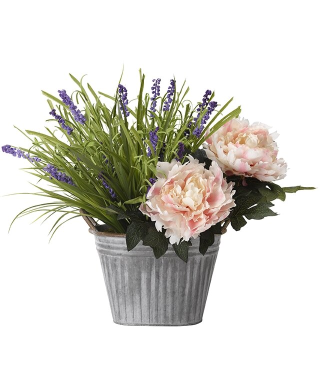 Three Posts Mixed Floral Arrangement In Oval Metal Planter Wayfair