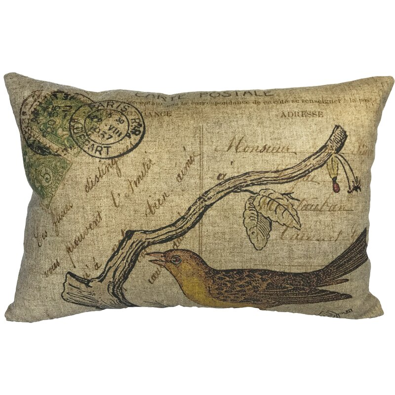 August Grove Campa Bird Postcard Linen Lumbar Pillow Wayfair