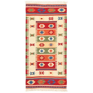 Jalal Fine Handmade Kilim Wool/Cotton Red/Green Rug by Home Loft Concept