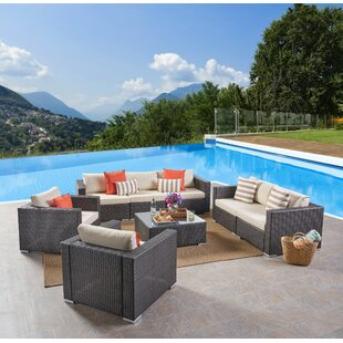 Jefcoat Outdoor 5 Piece Rattan Conversation Set with Cushions