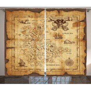 Theresa Treasure Map Semi-Sheer Rod Pocket Curtain Panels (Set of 2) by Zoomie Kids