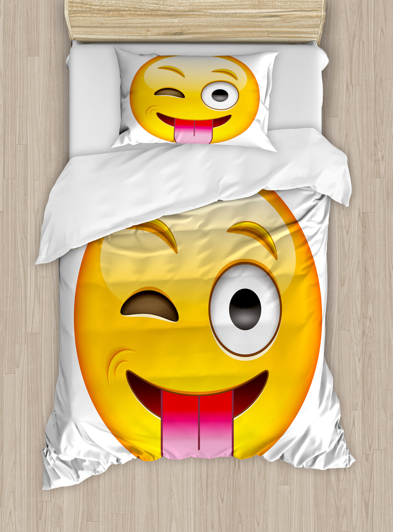 Black /& White Emoticon Smiley Face Expression Reversible Duvet Set /& Curtains