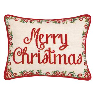 Christmas Medallion Needlepoint Lumbar Pillow