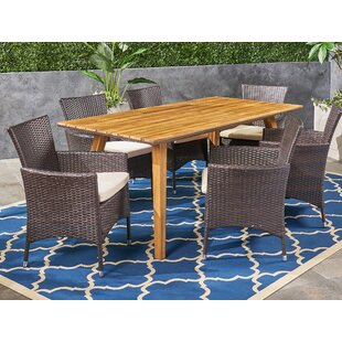 Sunglow 7 Piece Teak Dining Set With Cushions by Bungalow Rose Today Only Sale