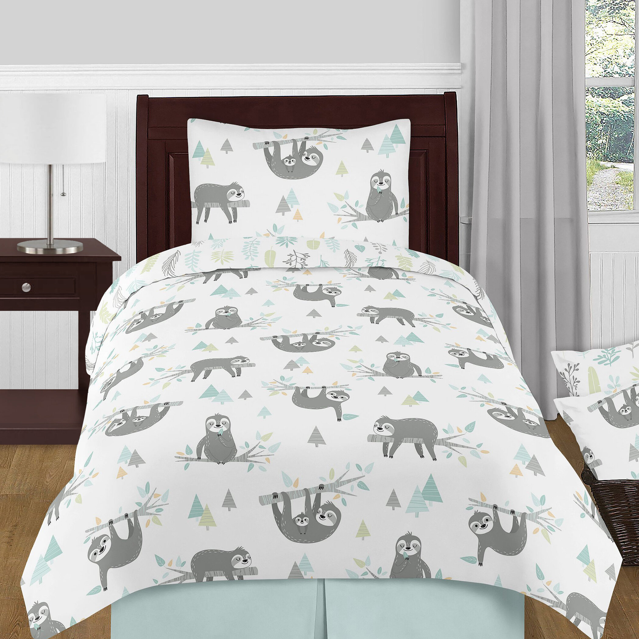 Sweet Jojo Designs Aqua And Grey Sloth Collection Sloth Comforter Set Wayfair Ca