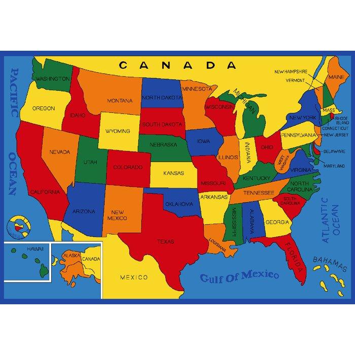 Tackett Usa States Map Blue Area Rug