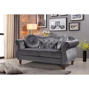 Eudy Velvet 647 Flared Arm Loveseat