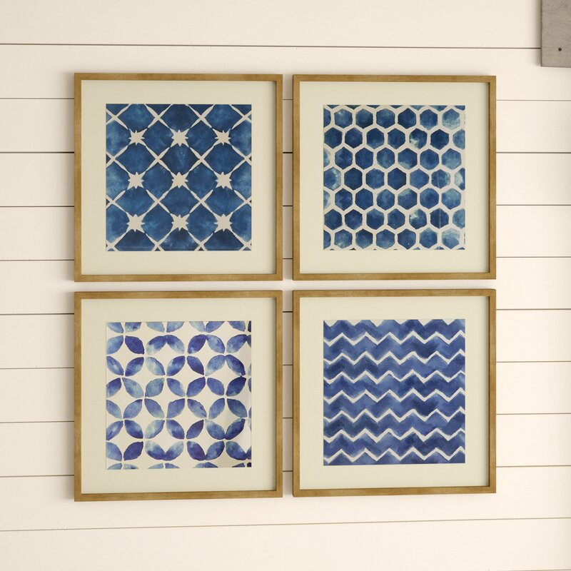 'Blue Geometric' Framed Prints