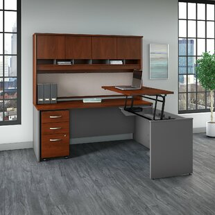 Series C Sit to Stand L Shaped Standing Desk with Hutch by Bush Business Furniture
