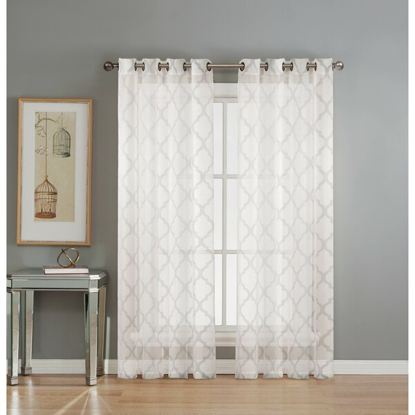 Window Elements Lattice Geometric Sheer Grommet Curtain Panels U0026 Reviews |  Wayfair