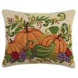 Munsell Fall Harvest Pumpkins Wool Throw Pillow