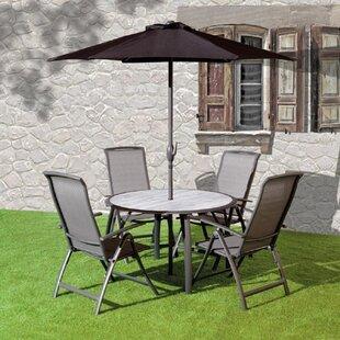Isanti 4 Seater Dining Set With Parasol (Set Of 6) Image