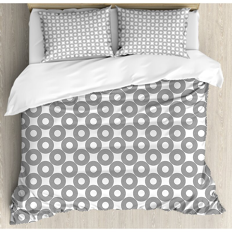 Ambesonne Geometric Circle Vinyl Records Inspired Concentric Rings With Curve Grids Art Print Duvet Cover Set Wayfair