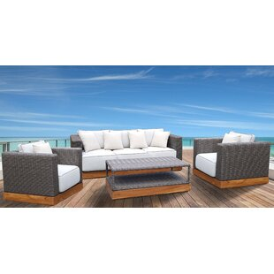 Breedlove 4 Piece Rattan Sofa Set with Cushions