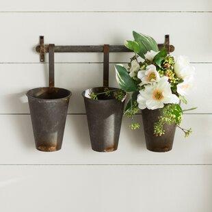 Farm Metal Wall Rack And 3 Tin Pot With Hanger Decor