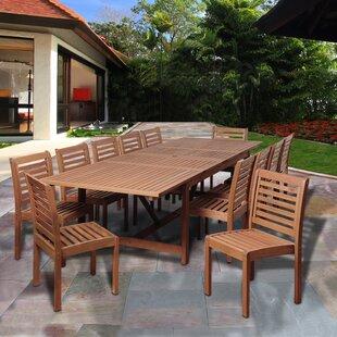 Bridgepointe Eucalyptus Wood 13 Piece Dining Set