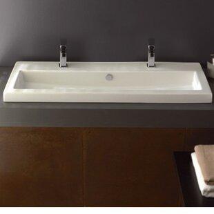 Affordable Price Series 40 Ceramic Rectangular Drop-In Bathroom Sink ByCeramica Tecla by Nameeks