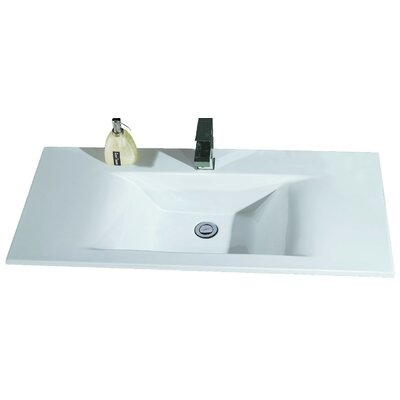 Ceramic Rectangular Drop In Bathroom Sink Eago