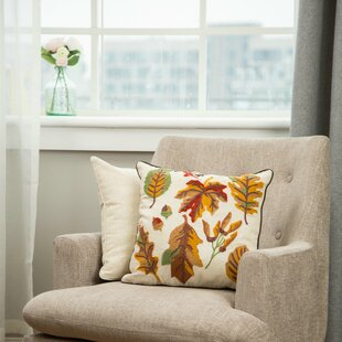 Renee Embroidered Fall Leaves Throw Pillow