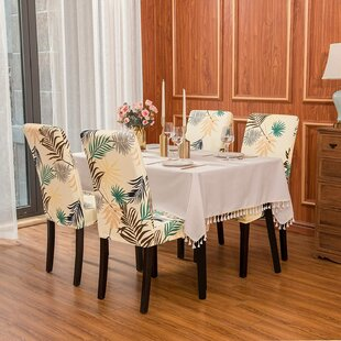 Discount Leaf Printed Stretchable Dining Chair Slipcovers (Set Of 4)