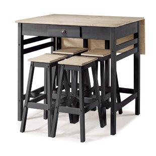 Stockwood Folding 5 Piece Adjustable Pub Table Set