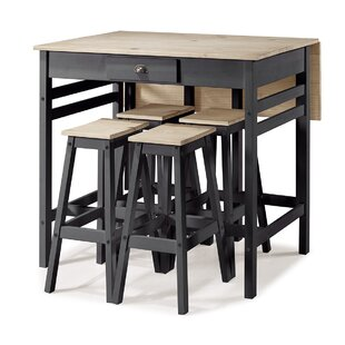 Tarter Folding 5 Piece Adjustable Pub Table Set Gracie Oaks