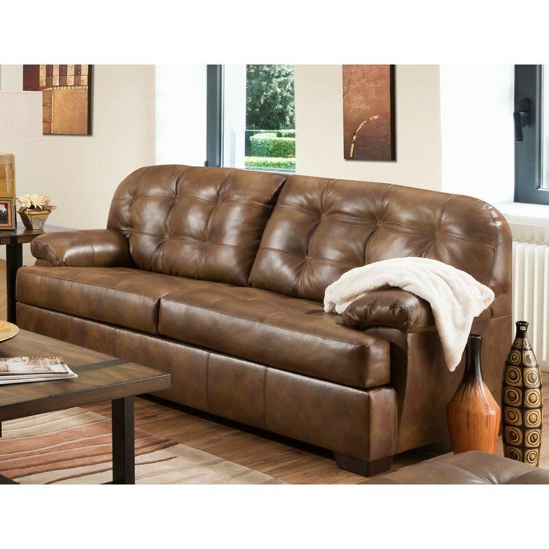 Zehr Top Grain Leather Match Sofa