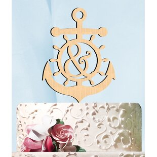 Anchor Wheel Ampersand Wooden Cake Topper By aMonogram Art Unlimited