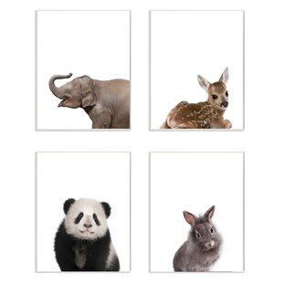 4 Piece Baby Animal Studio Portrait Elephant Deer Panda Bunny Wall Plaque Set