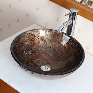Searching for Hot Melted Rock Pattern Glass Circular Vessel Bathroom Sink By Elite