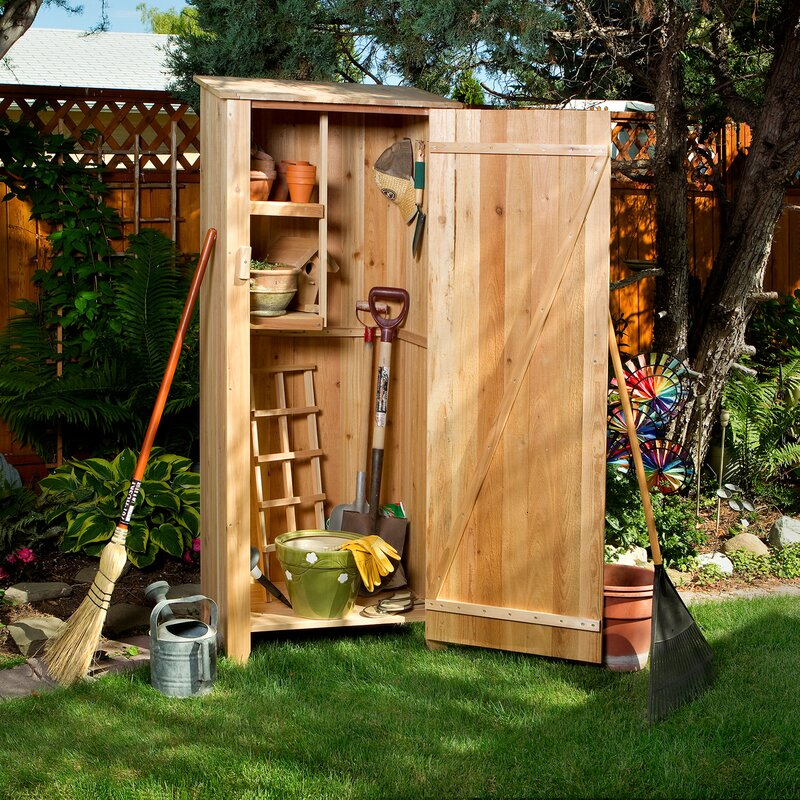 Union Rustic Western Red Cedar 2 Ft 3 In W X 1 Ft 7 5 In D Solid Wood Vertical Tool Shed Reviews Wayfair
