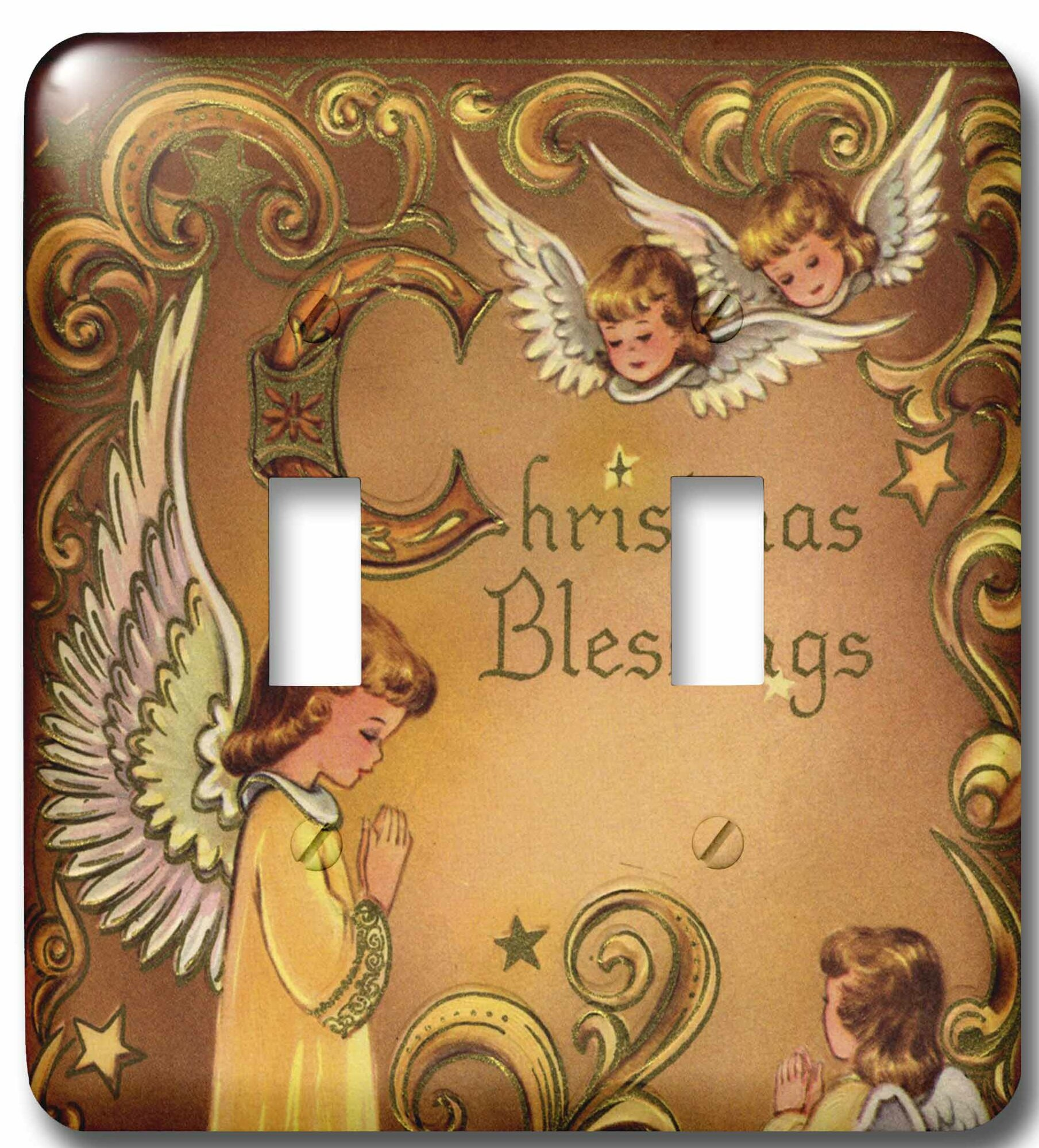 3drose Child Angels And Christmas Blessings 2 Gang Toggle Light Switch Wall Plate Wayfair