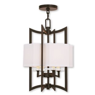 Latitude Run Honora 4-Light Fabric Shaded Chandelier