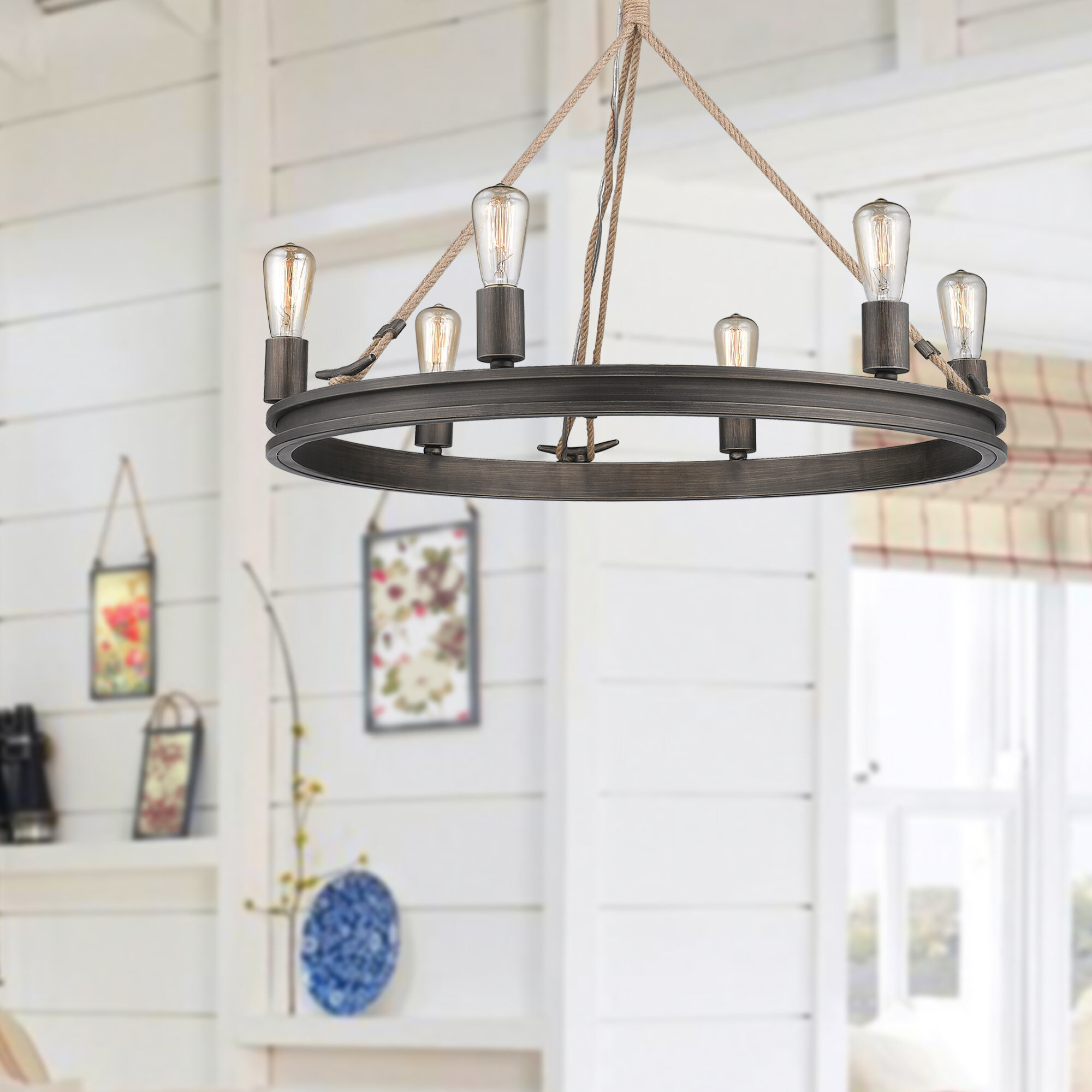 Vandervoort 6 Light Wagon Wheel Chandelier With Rope Accents Reviews Birch Lane