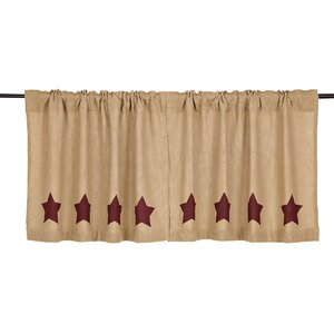 Olivia Burlap w/Burgundy Stencil Stars Tier Curtain (Set of 2)