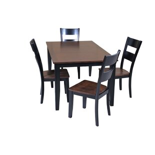 Haan 5 Piece Solid Wood Dining Set with B..