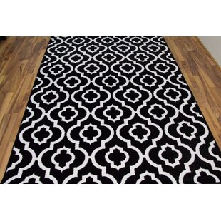 Milne Power Loom Black/White Outdoor Area Rug