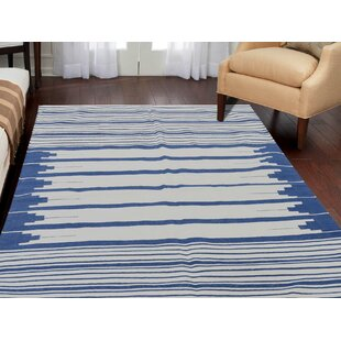 Affordable Price One-of-a-Kind Bessey Reversible Oversize Handmade Kilim 4' x 6' Cotton Blue/White Area Rug By Isabelline